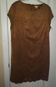 NEW NWT Faux Suede Brown Shift Dress L Versitile